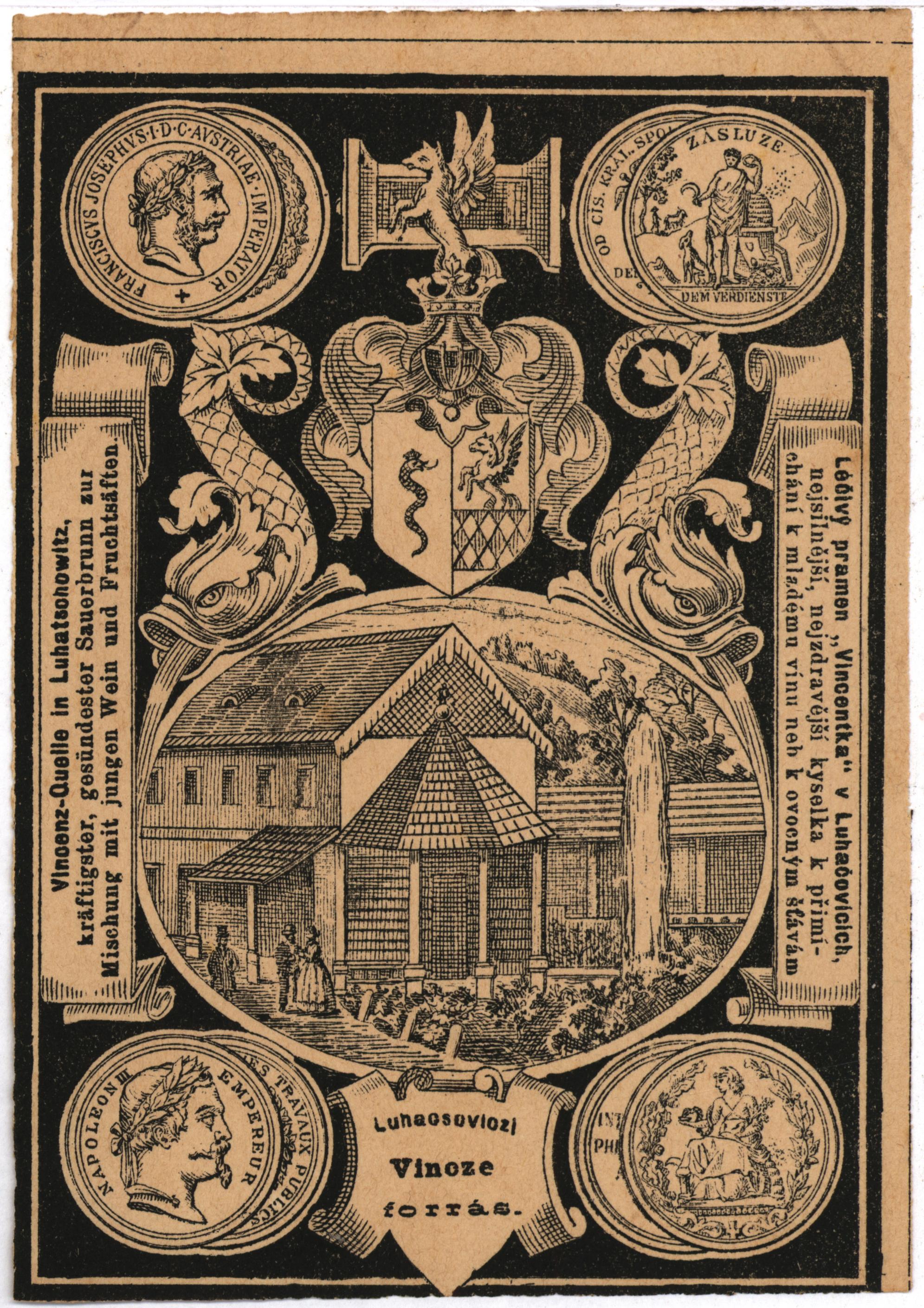 Etiketa Vincentky z konce 19. stol.